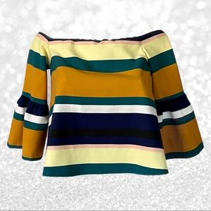 Zara Striped Off Shoulder Bell Sleeves Top NWT